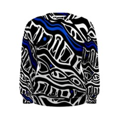 Deep blue, black and white abstract art Women s Sweatshirt