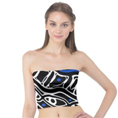 Deep blue, black and white abstract art Tube Top