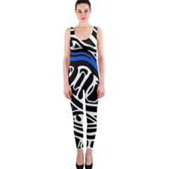 Deep blue, black and white abstract art OnePiece Catsuit