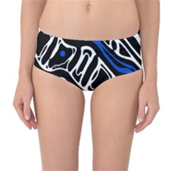 Deep blue, black and white abstract art Mid-Waist Bikini Bottoms