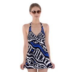 Deep blue, black and white abstract art Halter Swimsuit Dress