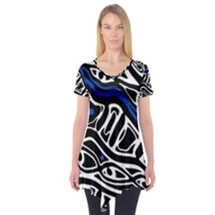 Deep Blue, Black And White Abstract Art Short Sleeve Tunic