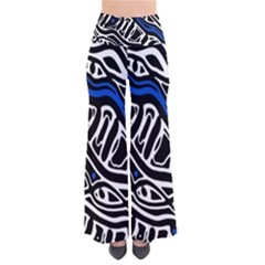 Deep blue, black and white abstract art Pants