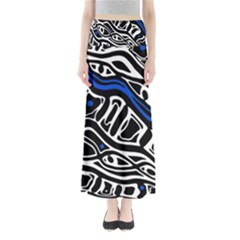 Deep Blue, Black And White Abstract Art Maxi Skirts