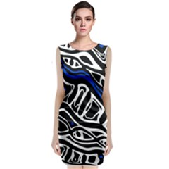 Deep blue, black and white abstract art Classic Sleeveless Midi Dress