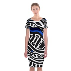Deep Blue, Black And White Abstract Art Classic Short Sleeve Midi Dress