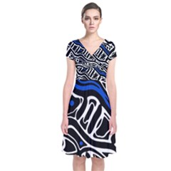 Deep blue, black and white abstract art Short Sleeve Front Wrap Dress