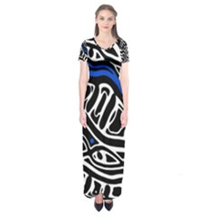 Deep Blue, Black And White Abstract Art Short Sleeve Maxi Dress