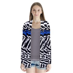 Deep Blue, Black And White Abstract Art Drape Collar Cardigan