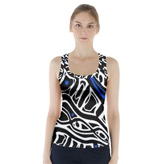 Deep Blue, Black And White Abstract Art Racer Back Sports Top
