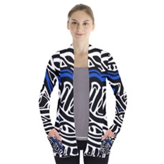 Deep blue, black and white abstract art Women s Open Front Pockets Cardigan(P194)