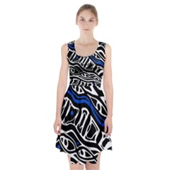Deep Blue, Black And White Abstract Art Racerback Midi Dress