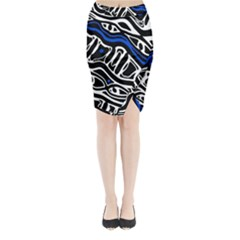 Deep blue, black and white abstract art Midi Wrap Pencil Skirt