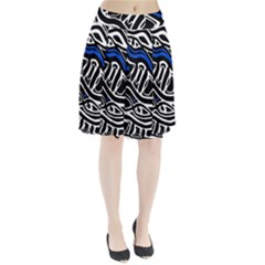 Deep Blue, Black And White Abstract Art Pleated Skirt