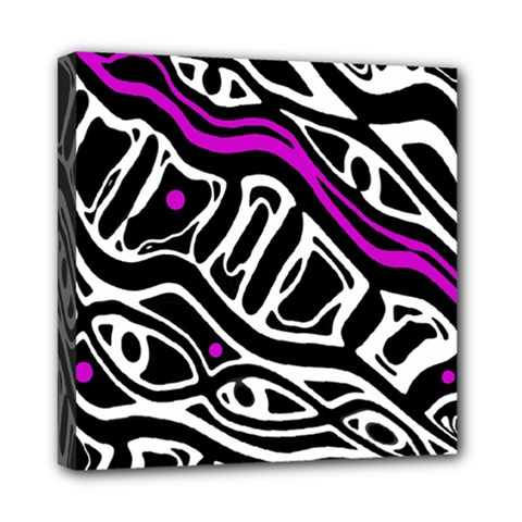 Purple, black and white abstract art Mini Canvas 8  x 8