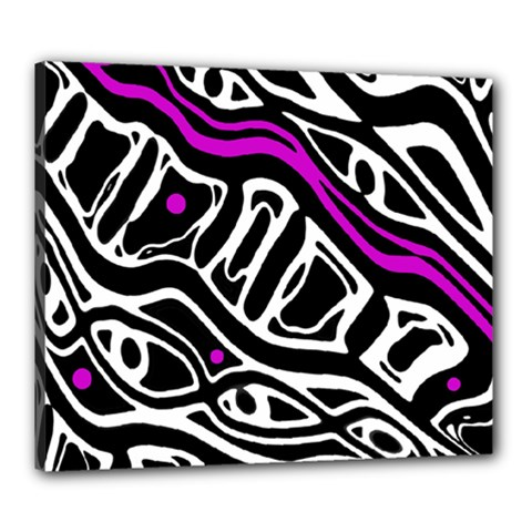 Purple, black and white abstract art Canvas 24  x 20