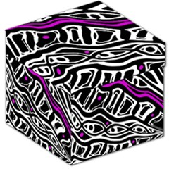 Purple, black and white abstract art Storage Stool 12