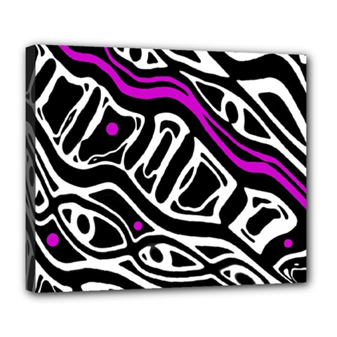 Purple, black and white abstract art Deluxe Canvas 24  x 20