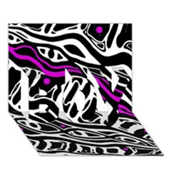 Purple, black and white abstract art BOY 3D Greeting Card (7x5)