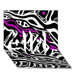 Purple, black and white abstract art GIRL 3D Greeting Card (7x5)