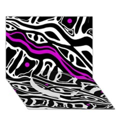 Purple, black and white abstract art Circle Bottom 3D Greeting Card (7x5)