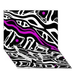 Purple, Black And White Abstract Art Love Bottom 3d Greeting Card (7x5)