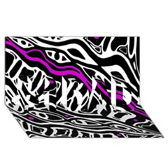 Purple, black and white abstract art #1 DAD 3D Greeting Card (8x4)