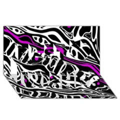 Purple, black and white abstract art Best Wish 3D Greeting Card (8x4)