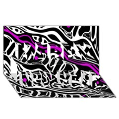 Purple, black and white abstract art Happy New Year 3D Greeting Card (8x4)