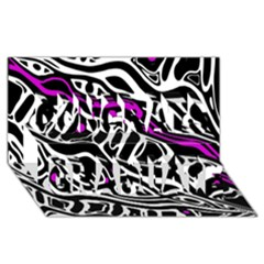 Purple, black and white abstract art Congrats Graduate 3D Greeting Card (8x4)