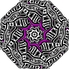 Purple, black and white abstract art Hook Handle Umbrellas (Small)