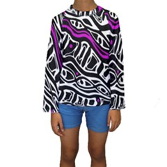 Purple, black and white abstract art Kid s Long Sleeve Swimwear