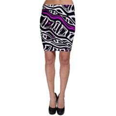 Purple, black and white abstract art Bodycon Skirt