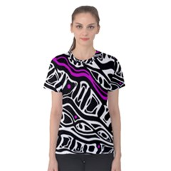 Purple, black and white abstract art Women s Cotton Tee