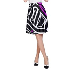 Purple, black and white abstract art A-Line Skirt