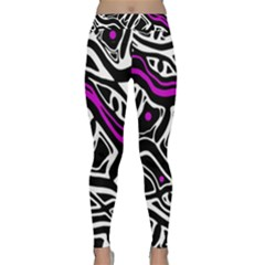 Purple, black and white abstract art Yoga Leggings