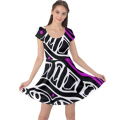 Purple, black and white abstract art Cap Sleeve Dresses