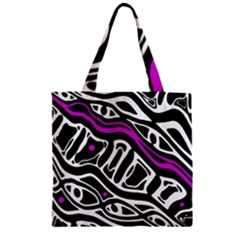 Purple, black and white abstract art Zipper Grocery Tote Bag
