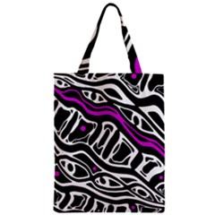 Purple, black and white abstract art Zipper Classic Tote Bag