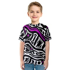 Purple, black and white abstract art Kid s Sport Mesh Tee