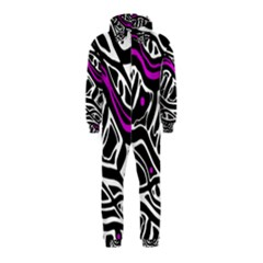 Purple, black and white abstract art Hooded Jumpsuit (Kids)
