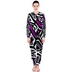 Purple, black and white abstract art OnePiece Jumpsuit (Ladies)