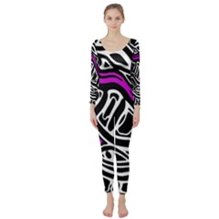 Purple, black and white abstract art Long Sleeve Catsuit