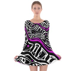 Purple, black and white abstract art Long Sleeve Skater Dress