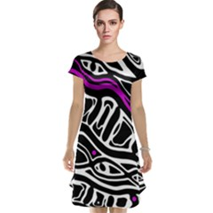 Purple, black and white abstract art Cap Sleeve Nightdress