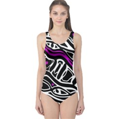 Purple, black and white abstract art One Piece Swimsuit