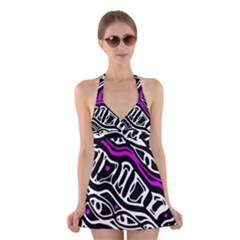 Purple, black and white abstract art Halter Swimsuit Dress