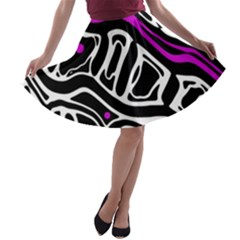 Purple, black and white abstract art A-line Skater Skirt