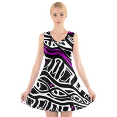 Purple, black and white abstract art V-Neck Sleeveless Skater Dress