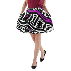 Purple, black and white abstract art A-Line Pocket Skirt